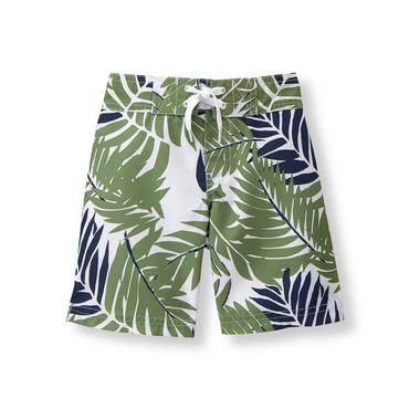 Palm Green Print Palm Print Swim Trunk at JanieandJack