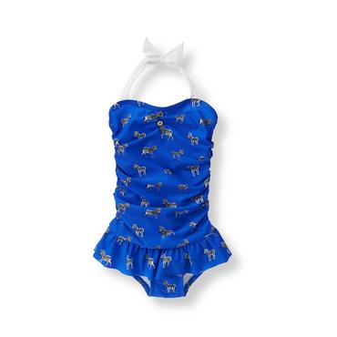 Baby Girl Oasis Blue Zebra Print Swimsuit at JanieandJack