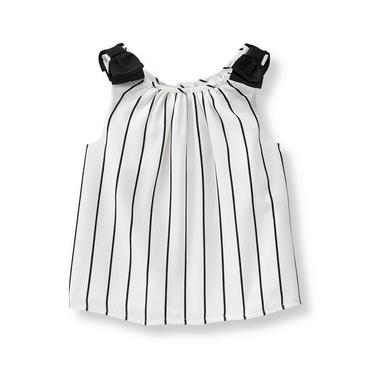 Baby Girl Black Stripe Striped Bow Top at JanieandJack