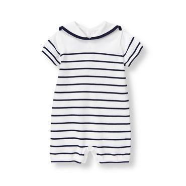 Baby Boy Navy Stripe Striped Sweater 1-Piece at JanieandJack