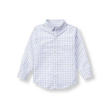 Indigo Windowpane Windowpane Dress Shirt at JanieandJack