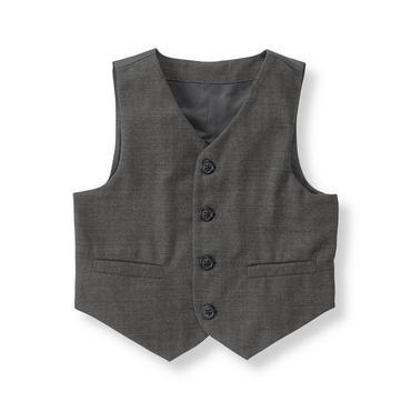 Baby Boy Charcoal Grey Herringbone Suit Vest at JanieandJack