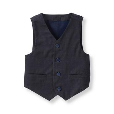 Baby Boy Navy Wool Suit Vest at JanieandJack