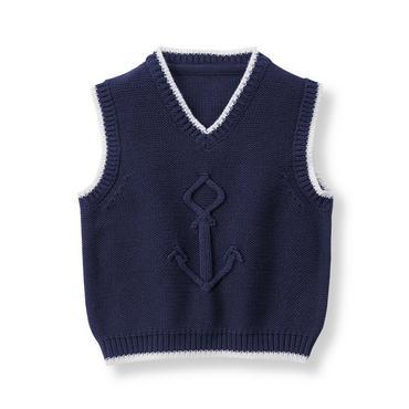 Baby Boy Navy Anchor Sweater Vest at JanieandJack