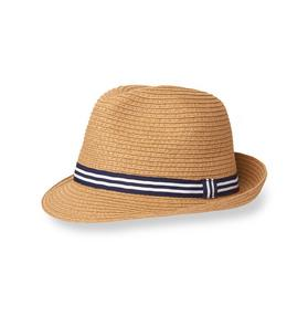 Striped Straw Fedora