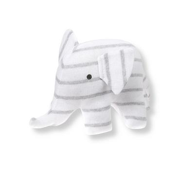 Heather Grey Stripe Plush Elephant Rattle at JanieandJack
