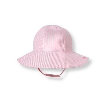 Flamingo Pink Stripe Seersucker Hat at JanieandJack