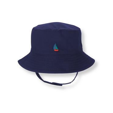 Baby Boy Navy Sailboat Bucket Hat at JanieandJack