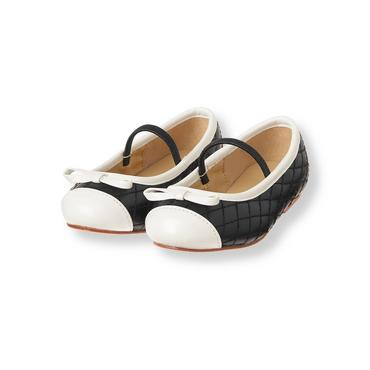 Baby Girl Black Quilted Colorblock Flat at JanieandJack
