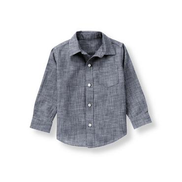 Boys Chambray Blue Chambray Shirt at JanieandJack