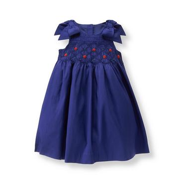 Baby Girl Deep Royal Blue Silk Smocked Dress at JanieandJack