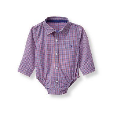 Baby Boy True Blue Check Checked Bodysuit at JanieandJack