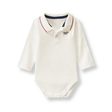 Baby Boy Ivory Embroidered Pup Bodysuit at JanieandJack
