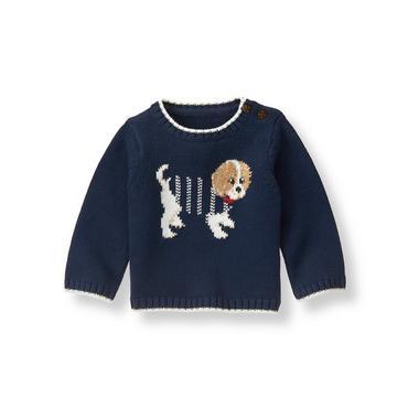 Baby Boy Navy Pup Sweater at JanieandJack