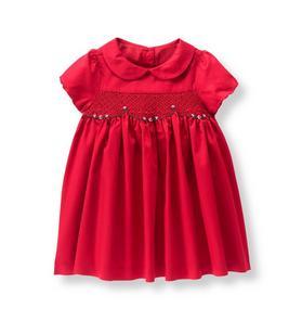 Smocked Sateen Dress