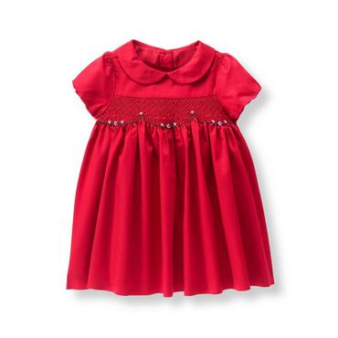 Baby Girl Crimson Smocked Sateen Dress at JanieandJack