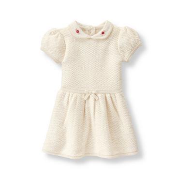 Ivory Shimmer Sweater Dress at JanieandJack