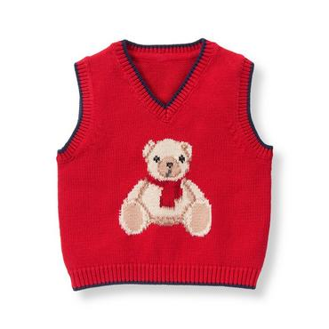 Baby Boy Crimson Teddy Bear Sweater Vest at JanieandJack