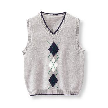 Baby Boy Heather Grey Argyle Sweater Vest at JanieandJack