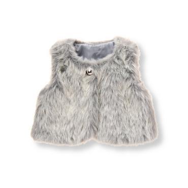 Baby Girl Chalet Grey Faux-Fur Vest at JanieandJack