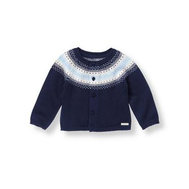 Baby Boy Navy Fair Isle Cardigan at JanieandJack