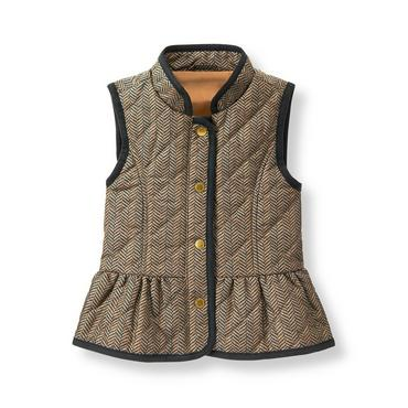 Baby Girl Maple Herringbone Herringbone Quilted Vest at JanieandJack