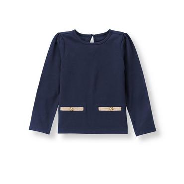Navy Elbow Patch Top at JanieandJack
