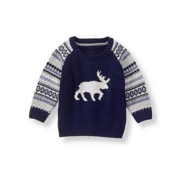Baby Boy Navy Fair Isle Moose Sweater at JanieandJack