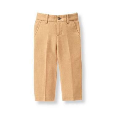 Warm Tan Herringbone Suit Trouser at JanieandJack