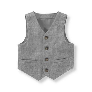 Baby Boy Heather Grey Herringbone Suit Vest at JanieandJack