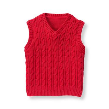 Baby Boy Crimson Cable Sweater Vest at JanieandJack