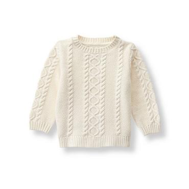 Ivory Cable Sweater at JanieandJack