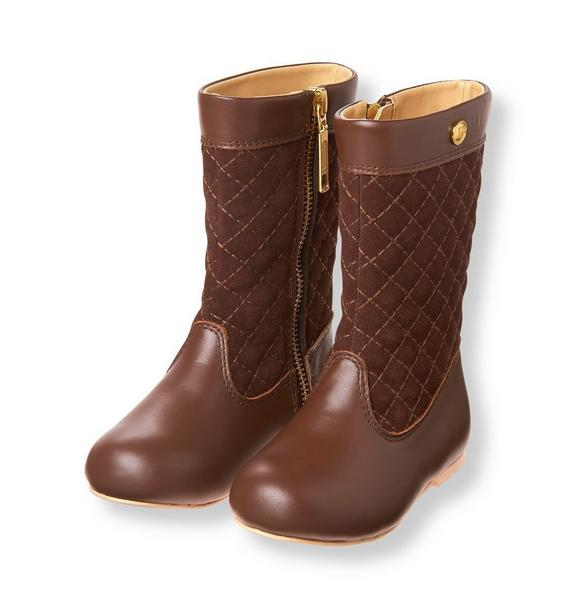 Accessories Saddle Brown Quilted Riding Boot by Janie and Jack : quilted brown boots - Adamdwight.com