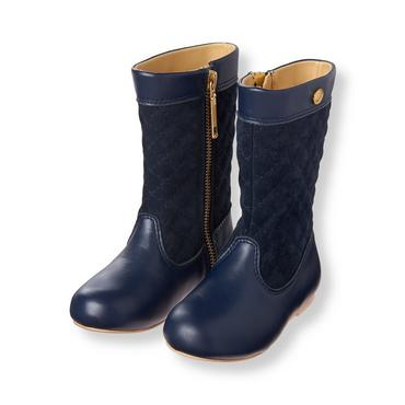 Navy Quilted Riding Boot at JanieandJack
