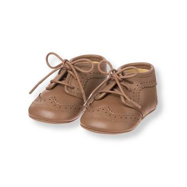 Baby Boy Classic Brown Wingtip Crib Shoe at JanieandJack