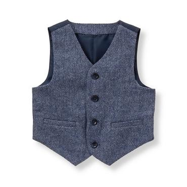 Baby Boy Navy Herringbone Herringbone Suit Vest at JanieandJack