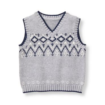 Baby Boy Heather Grey Fair Isle Sweater Vest at JanieandJack