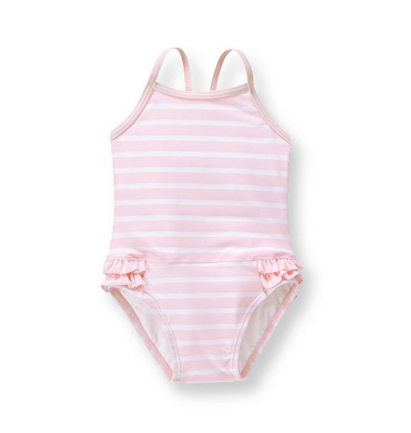Striped Ruffle Swimsuit