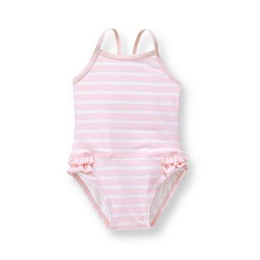 Baby Girl Soft Pink Stripe Striped Ruffle Swimsuit at JanieandJack