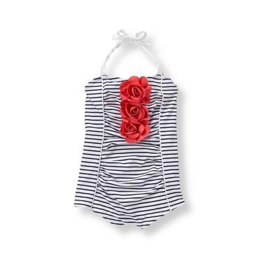 Baby Girl Navy Stripe Striped Rosette Swimsuit at JanieandJack