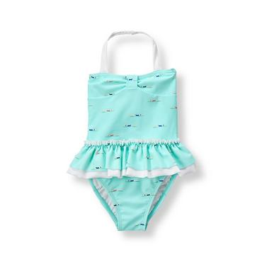 Baby Girl Aqua Swimmer Girl Swimsuit at JanieandJack