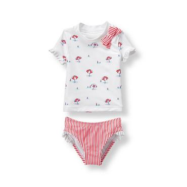 Baby Girl Vivid Coral Print Umbrella Rash Guard Set at JanieandJack
