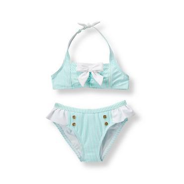 Baby Girl Aqua Stripe Striped 2-Piece Swimsuit at JanieandJack