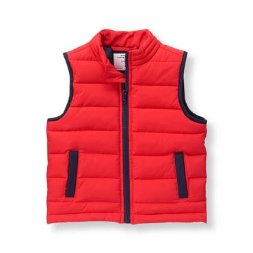 Baby Boy Riviera Red Quilted Vest at JanieandJack
