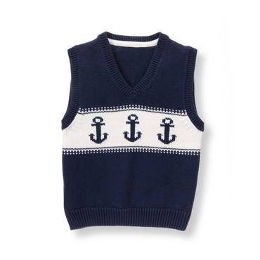 Baby Boy Navy Anchor Sweater Vest at JanieandJack