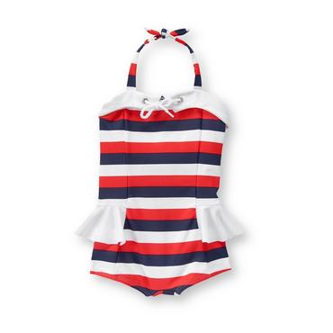 Baby Girl Riviera Red Stripe Striped Swimsuit at JanieandJack