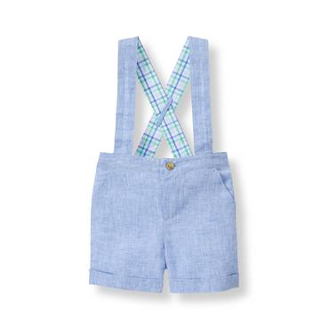 Baby Boy Light Pond Blue Suspender Short at JanieandJack