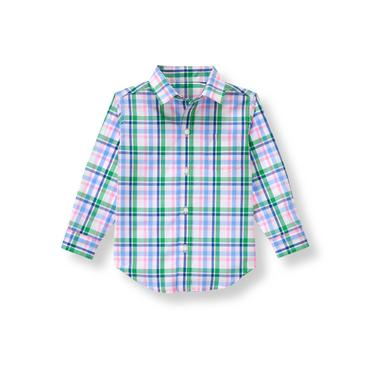 Field Green Plaid Plaid Poplin Shirt at JanieandJack
