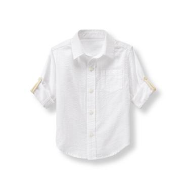 Boys White Seersucker Shirt at JanieandJack