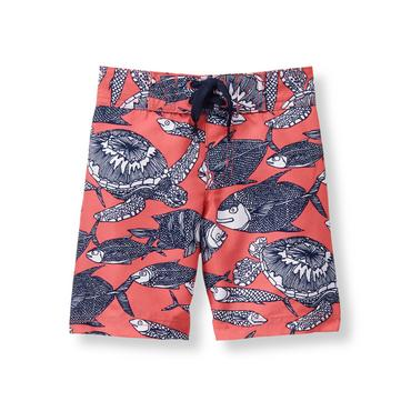 Baby Boy Salmon Deep Sea Swim Trunk at JanieandJack